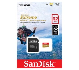 Slika 2 izdelka: SanDisk Extreme microSDHC 32GB + SD Adapter for Action Sports Cameras - 100MB/s A1 C10 V30 UHS-I U3
